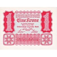 Банкнота 1 крона. 1922 год, Австрия.