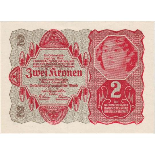 Банкнота 2 кроны. 1922 год, Австрия.