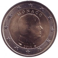 Альберт II. Монета 2 евро, 2011 год, Монако.