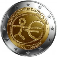 10 лет Экономическому и валютному союзу. Монета 2 евро, 2009 год, Германия.