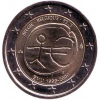 10 лет Экономическому и валютному союзу. Монета 2 евро. 2009 год, Бельгия.