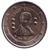 200 лет с рождения Луи Брайля. Монета 2 евро, 2009 год, Бельгия.