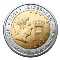 Великий Герцог Анри Нассау (его портрет и монограмма). Монета 2 евро, 2004 год, Люксембург.