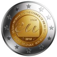 Председательство Бельгии в ЕС. Монета 2 евро, 2010 год, Бельгия.