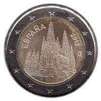 Кафедральный собор в Бургосе. Монета 2 евро, 2012 год, Испания.
