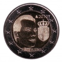 Герб Великого герцога Люксембурга Анри. 2 евро, 2010 год, Люксембург.