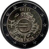 10 лет введения наличных евро. Монета 2 евро, 2012 год, Эстония.