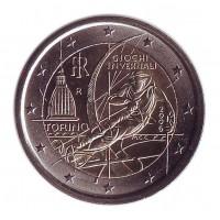 ХХ Зимние Олимпийские игры в Турине. Монета 2 евро, 2006 год, Италия.