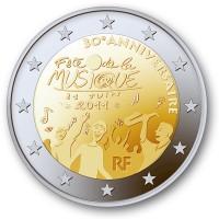 30 лет Дню музыки во Франции. Монета 2 евро, 2011 год, Франция.