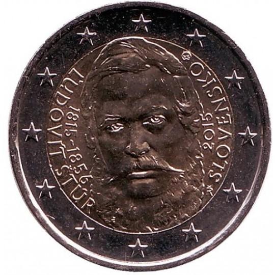 200 лет со дня рождения общественного деятеля Людовита Штура. Монета 2 евро. 2015 год, Словакия.