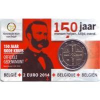 150 лет Красному кресту. Монета 2 евро. 2014 год, Бельгия. (в коинкарте!)