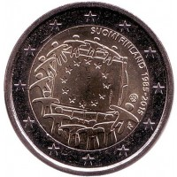30 лет Флагу Европы. Монета 2 евро. 2015 год, Финляндия.