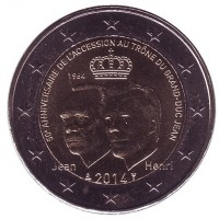 50 лет вступления на престол Великого герцога Люксембурга Жана. Монета 2 евро, 2014 год, Люксембург.