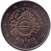 10 лет введения наличных евро. Монета 2 евро, 2012 год, Австрия.