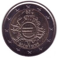 10 лет введения наличных евро. Монета 2 евро, 2012 год, Бельгия.