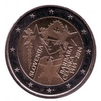 600-летие коронации Барбары Цилли. Монета 2 евро. 2014 год, Словения.