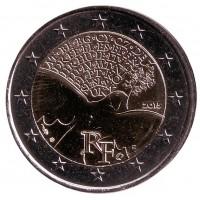 70 лет мира в Европе. Монета 2 евро, 2015 год, Франция.