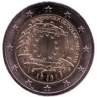 30 лет Флагу Европы. Монета 2 евро. 2015 год, Германия.
