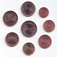 Набор монет евро (8 шт). 2008 год, Австрия.