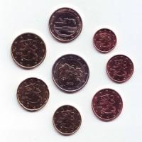 Набор монет евро (8 шт). 2009 год, Финляндия.