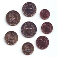 Набор монет евро (8 шт). 2012 год, Кипр.