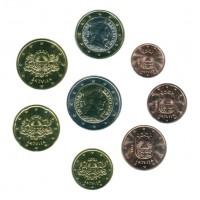 Набор монет евро (8 шт). 2014 год, Латвия