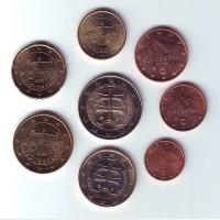 Набор монет евро (8 шт). 2009 год, Словакия.