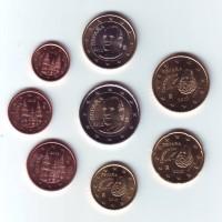 Набор монет евро (8 шт). 2012 год, Испания.