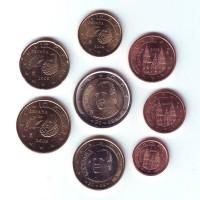Набор монет евро (8 шт). 2009 год, Испания.