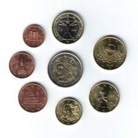Набор монет евро (8 шт). 2008 г, Италия.