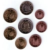 Набор монет евро (8 шт). 2014 год, Испания.