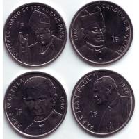 Иоанн Павел II. Набор монет Конго (4 шт.), 1 франк. 2004 год, Конго.