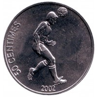 Футболист. Монета 50 сантимов. 2002 год, Конго.