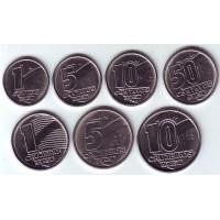 Набор монет Бразилии (7 шт.), 1989 - 1991 гг, Бразилия.