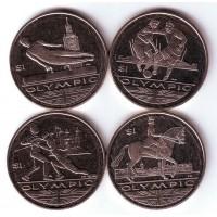 Летние Олимпийские игры 2012 года в Лондоне, набор монет (4 шт - гимнастика, футбол, фехтование, верховая езда). 2012 год, Британские Виргинские острова.