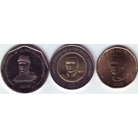 Набор монет (3 шт.). 1-25 песо, 2008-2010 гг., Доминиканская Республика.