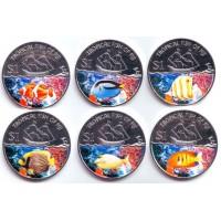 Тропические рыбы. Набор монет (6 шт.), 1 доллар. 2009 год, Фиджи.