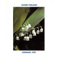 Набор монет Финляндии в буклете (4 шт). 1991 год, Финляндия.