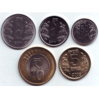 Набор монет Индии (5 шт.). 2009-11 гг., Индия.