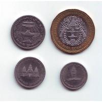 Набор монет Камбоджи. 4 монеты номиналом: 50, 100, 200, 500 риелей.