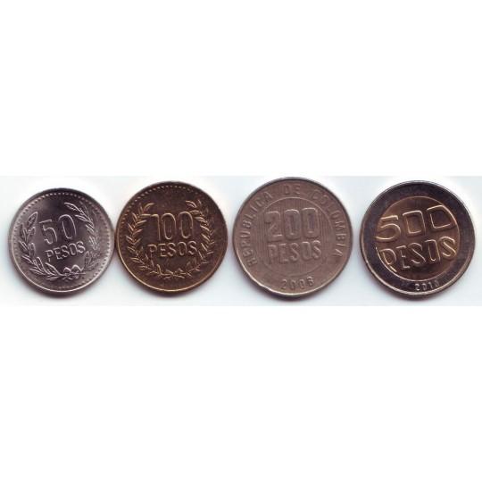 Набор монет Колумбии (4 шт.) 1997-2011 гг., Колумбия.
