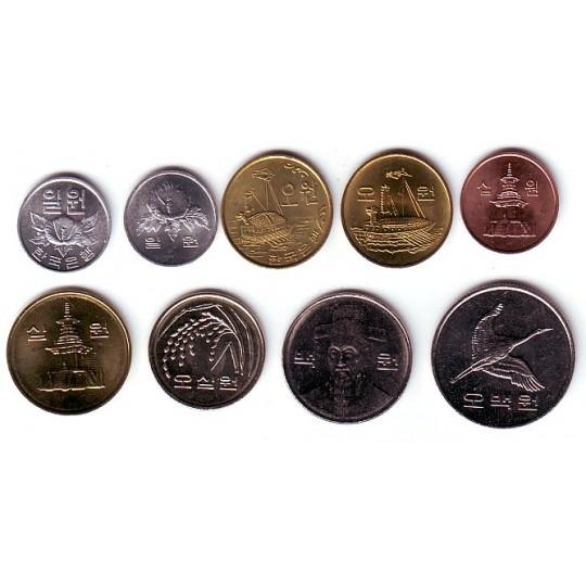 Набор монет Южной Кореи (9 шт.). 1969-2009 гг., Южная Корея.