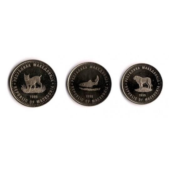 Набор монет Македонии (3 штуки): 1 денар, 2 денара, 5 денаров. 1995 год, Македония