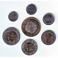 Набор монет Мексики (7 шт.). 10 сентаво-10 песо, 2001-2013 гг, Мексика.