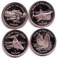 Год океана. Набор монет (4 шт.), 1 крона. 1998 год, Остров Мэн.