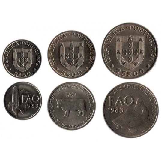 ФАО 1983. Набор из 3-х монет Португалии, 1983 год.