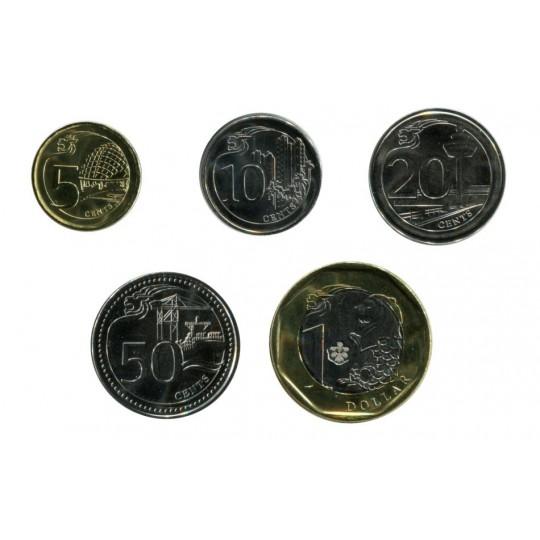 Набор монет Сингапура (5 штук). Сингапур, 2013 год.