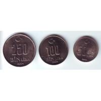 Набор монет Турции (3 шт.: 50, 100, 250 тысяч лир). 2004 год, Турция.