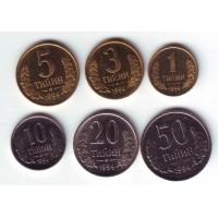 Набор монет Узбекистана (6 штук). 1-50 тийинов, 1994 год.