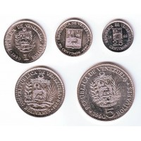 Набор монет Венесуэлы (5 шт.). 1989-1990 гг, Венесуэла.
